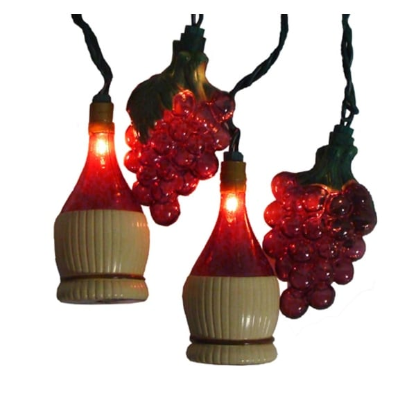 Set of 10 Tuscan Winery Grape & Wine Bottle Patio Christmas Lights - White Wire - Purple