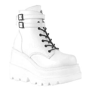 Demonia Women's Shaker 52 Platform Ankle Boot White Vegan Leather