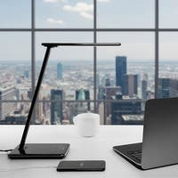 Dimmable LED Desk Lamp, 4 Lighting Modes ,USB Port, Piano Black