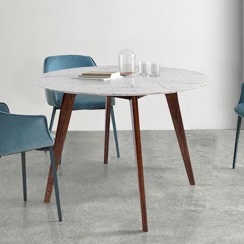 "Avella 31"" Round Italian Carrara White Marble Dining Table with Walnut Legs - 31.5""L x 31.5""W x 29.5""H"