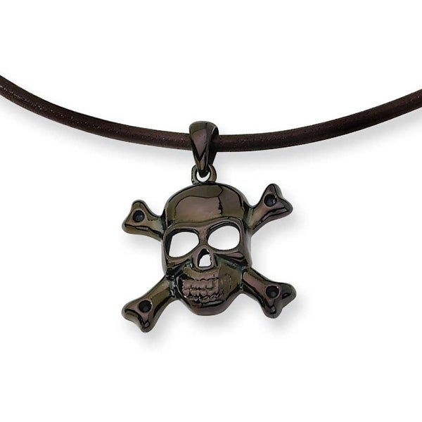Chisel Stainless Steel Black Color IP-plated Skull With Cross Bones Pendant Necklace (2 mm) - 18 in