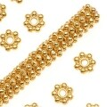 TierraCast Fine Bright 22K Gold Plated Pewter Daisy Spacer Beads 4mm (50) - Thumbnail 0