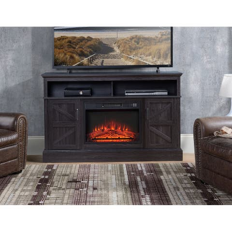 Rustic Dark Wood TV Stand With Fireplace