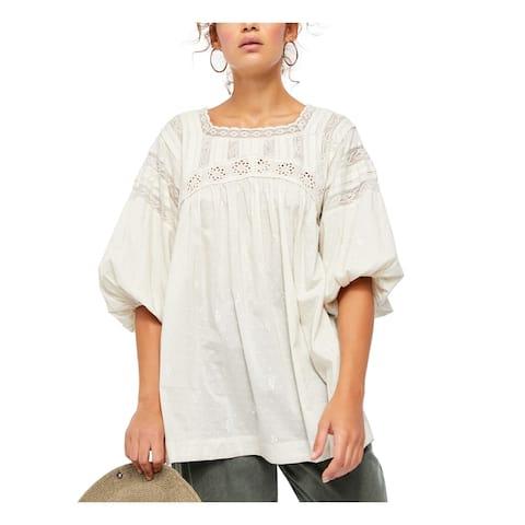 FREE PEOPLE Womens Beige Short Sleeve Jewel Neck Top Size M