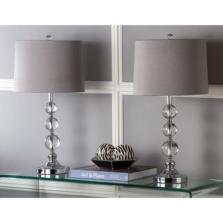 Link to Safavieh Lighting 27-inch Keeva Clear Stacked Crystal Orbs with Grey Shade Table Lamp (Set of 2) - N/A Similar Items in Lamp Sets