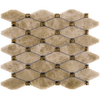 TileGen. Emperador Long Hexagon Mixed Material Tile in Brown/Beige Floor and Wall Tile (10 sheets/10.9sqft.)