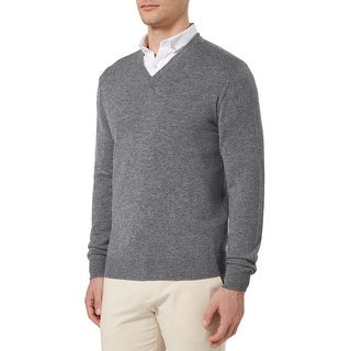 Bloomingdales Mens Pure Cashmere V-Neck Sweater Heather Grey