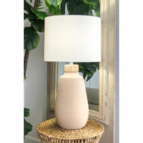 "nuLOOM 28-inch Light Gray Faye Ceramic Linen Shade Table Lamp - 17"" h x 9"" w x 9""d"