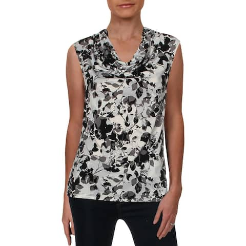 Kasper Womens Pullover Top Floral Print Sleeveless
