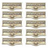 10 Switch Plate Tags DOWNSTAIRS Name Signs Labels Brass | Renovator's Supply