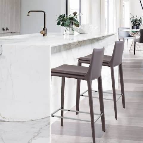 Hilton Modern Leather Wrapped Counter Stool with Steel Frame
