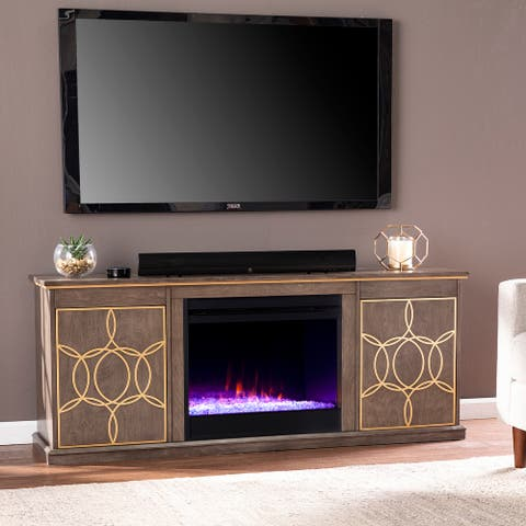 The Curated Nomad Ysidro Brown Color Changing Fireplace Console