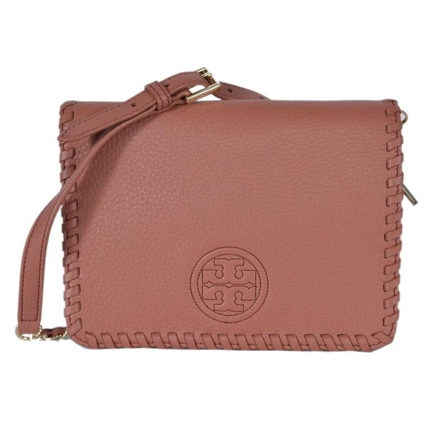 Tory Burch Marion Combo Whipstitch Leather Flap Crossbody Purse Bag