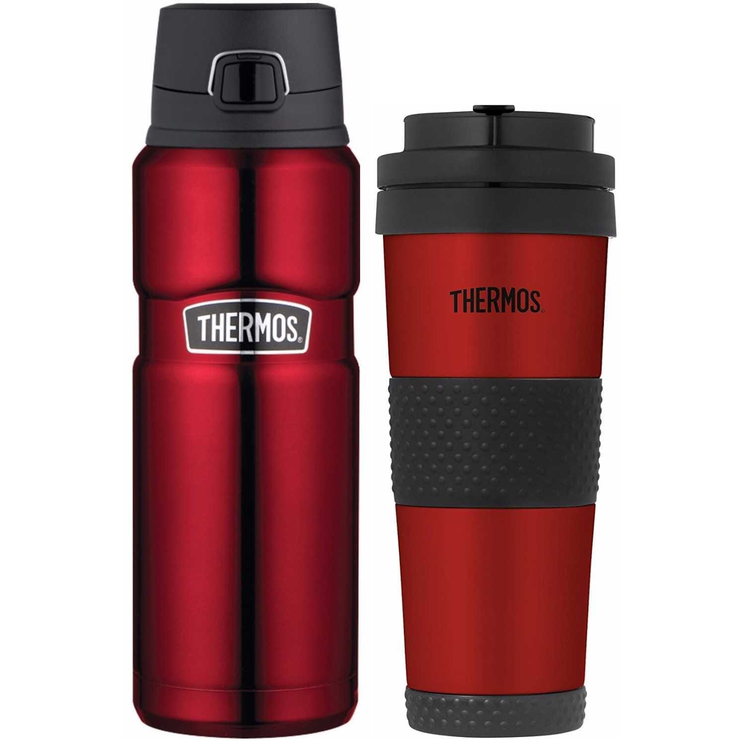 Thermos King Vacuum Insulated 24oz Drink Bottle and 18oz Tumbler (Cranberry  Red)