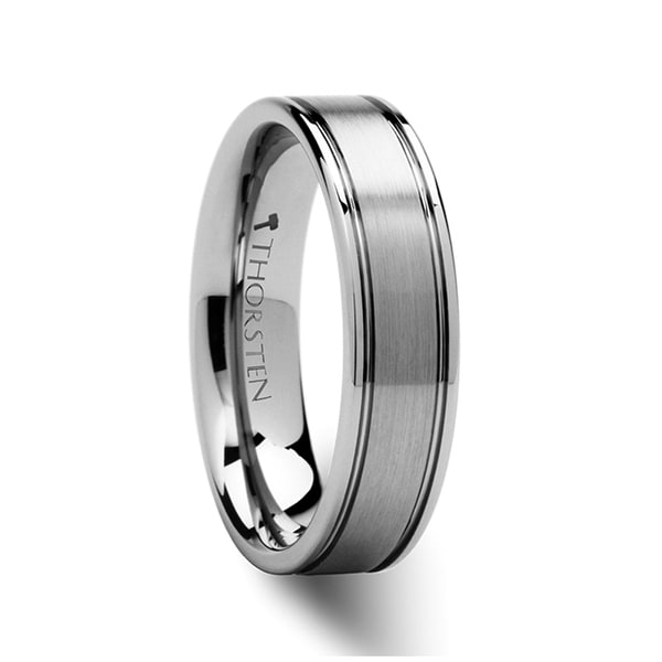 THORSTEN - BRIDGEPORT Flat Satin Finish Tungsten Carbide Ring - 6mm
