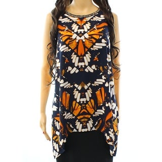 Alfani NEW Blue Women's Size 6 Embellished Halter Abstract Tank Blouse