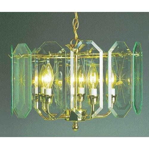 Volume Lighting V3195 5 Light 1 Tier Chandelier with Beveled Glass Shade