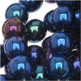 Czech Glass Druk Round Beads 6mm Blue Iris (50)