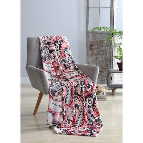 VCNY Home Bellona Paisley Velvet Plush Throw Blanke