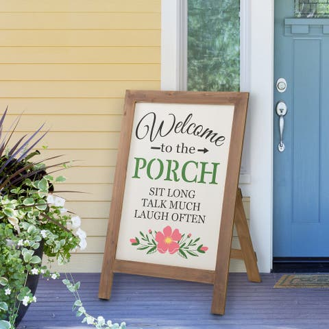 Glitzhome Wooden Sanding Welcome Easel Porch Sign Hanging Decor