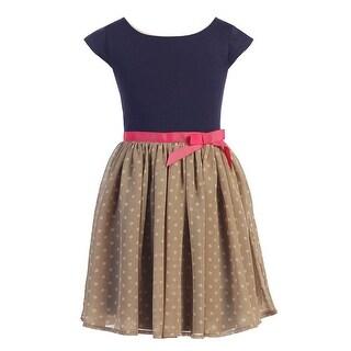Girls Navy Tan Dot Chiffon Flower Girl Dress 8