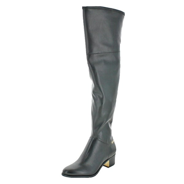 9eac2724038 Shop Calvin Klein Womens Carli Over-The-Knee Boots Leather Neoprene ...