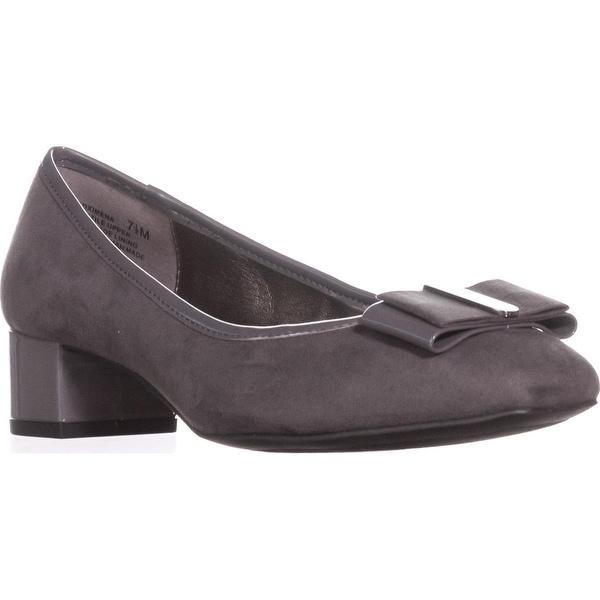Bandolino Ximena Bow Toe Kitten Heels, Grey/Grey