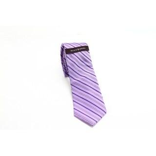 Black Brown 0676 NEW Purple Striped Woven Men's Neck Tie Silk Accessory