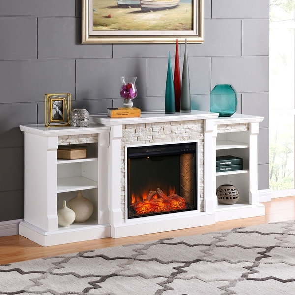 Copper Grove Gordon Alexa Enabled Fireplace with Bookcases. Opens flyout.