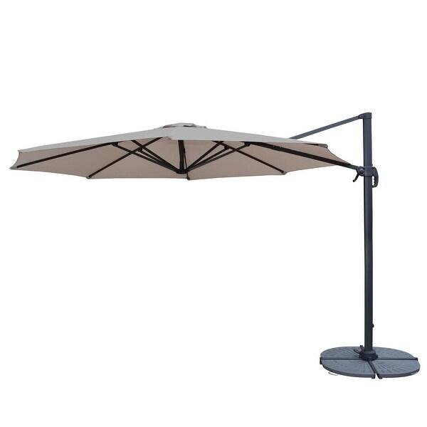11u0027 Cream And Gray Crank Cantilever Patio Umbrella With Heavy Duty Weights