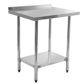 Costway 24'' x 30'' Stainless Steel Work Prep Table with Backsplash Kitchen Restaurant
