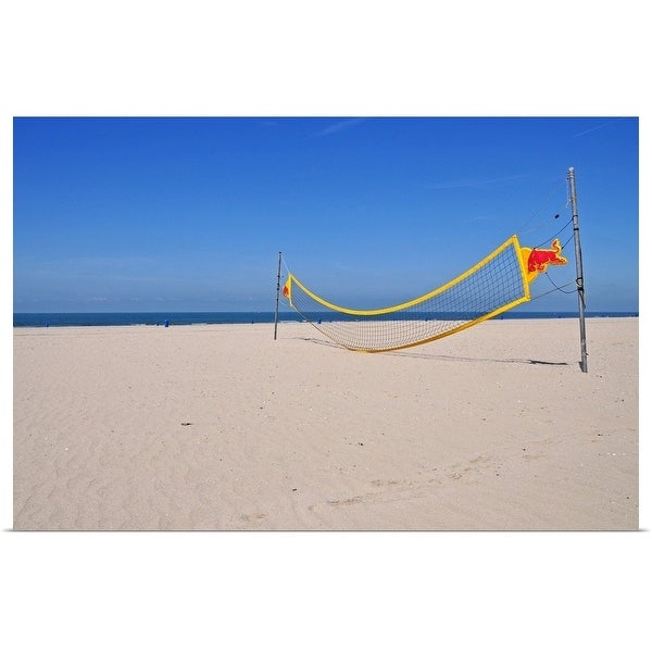 """""""Volleyball net on beach with blue sky."""" Poster Print"""