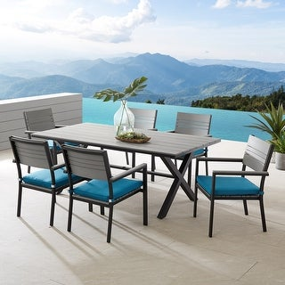 Link to Corvus Orville 7-piece Aluminum Outdoor Dining Set with Wood Table Top Similar Items in Patio Furniture