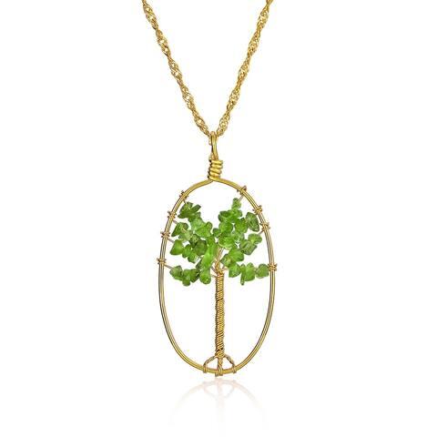 Tree Life Green Stone Prehnite Oval Pendant Necklace Gold Tone Wire