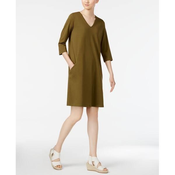 b5aa7e70cd6e9 Shop Eileen Fisher Green Women's Size XXS Pocketed V-Neck Shift ...