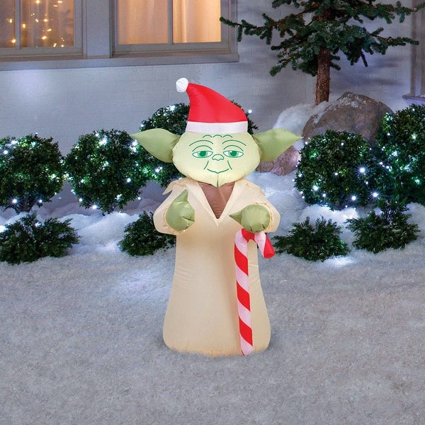 gemmy 37213 christmas airblown star wars yoda with candycane inflatable fabric 24 1 - Star Wars Inflatable Christmas Decorations
