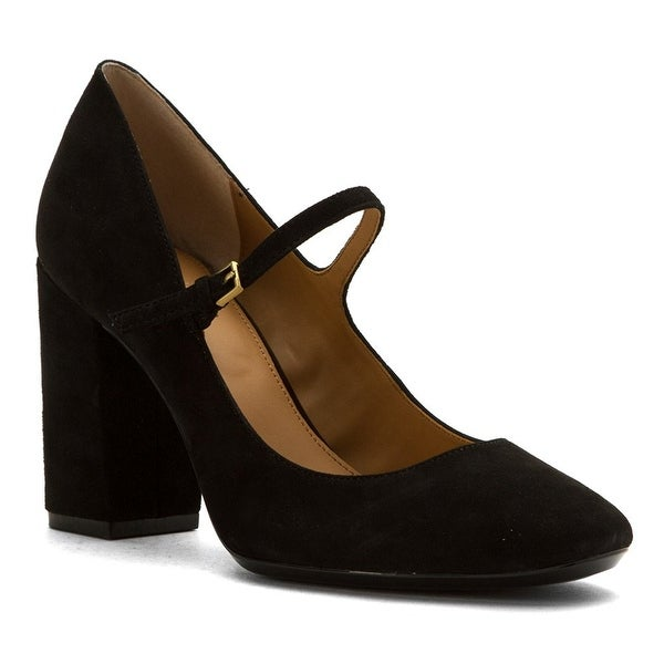 Calvin Klein Womens Cassian Suede Closed Toe Ankle Strap Mary Jane Pumps