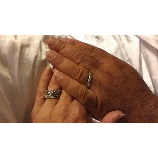 Miadora Sterling Silver 1/3ct TDW Diamond 2-Piece Stackable Semi-Eternity Ring Set