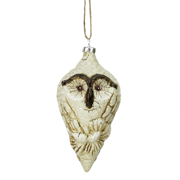 "5.5"" White and Brown Glittered Painted Glass Owl Finial Christmas Tree Ornament"