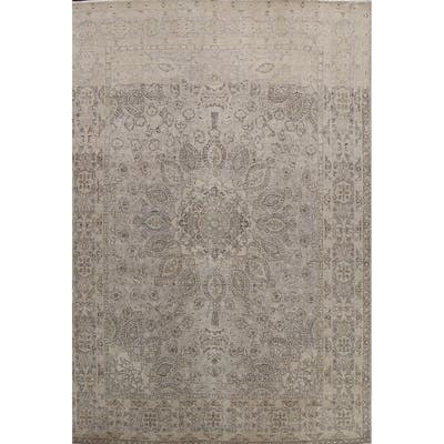 """Muted Distressed Floral Tabriz Persian Area Rug Handmade Wool Carpet - 10'0"""" x 12'11"""""""