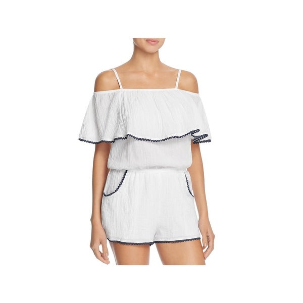 c5fe810995 Becca by Rebecca Virtue Womens Inspired Off the Shoulder Romper Swim Cover- Up