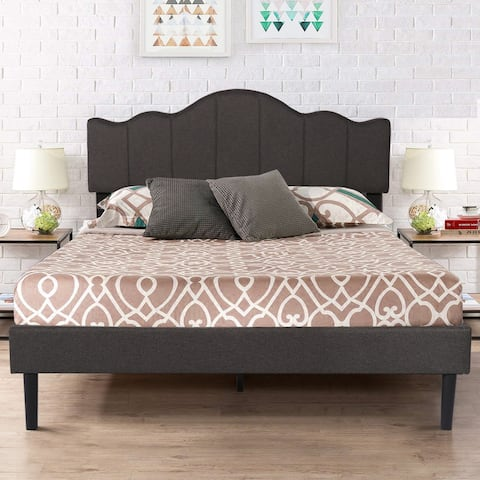 Vecelo Modern Fabric Adjustable Headboard - Queen/Full/Twin Size -Dark gray