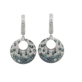 3.50 Carat Real Blue and white Diamond Fabulous Drop Earring Made in 14k White Gold