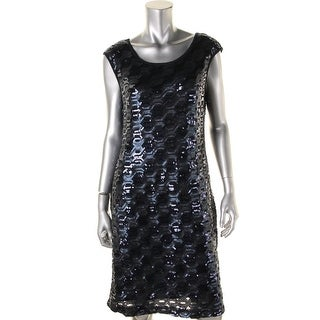 Connected Apparel Womens Sequined Cap Sleeves Cocktail Dress - 12