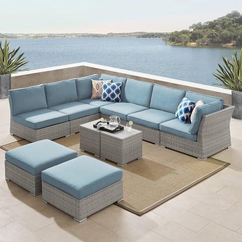 Corvus 10-piece Grey Sectional Conversation Sofa Set