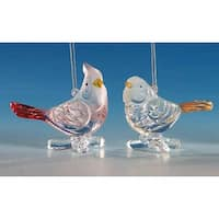 "Club Pack of 12 Icy Crystal Decorative Bird Ornaments 3"" - CLEAR"