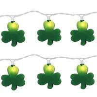 Set of 10 Irish St. Patrick's Clover Shamrock Novelty Christmas Lights - White Wire - Green