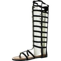 Wild Rose Odelia04 Women Leatherette Open Toe Studded Knee High Gladiator Sandal - Black