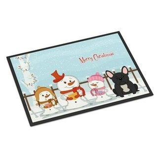 Carolines Treasures BB2345MAT Merry Christmas Carolers French Bulldog Black Indoor or Outdoor Mat 18 x 0.25 x 27 in.