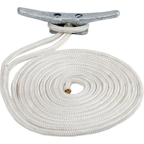 Sea-dog line sea dog double braided nylon dock line 5/8 x 15' white 302116015wh-1